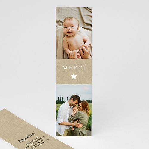 Carte Remerciement Naissance Frère et Soeur Kraft Vintage, marque-page, 5,5 x 21