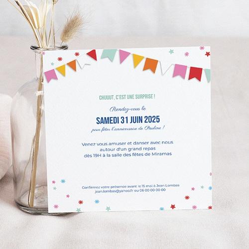 Carte invitation anniversaire 20 ans 20 ans Fiesta, Vernis, Carré pas cher