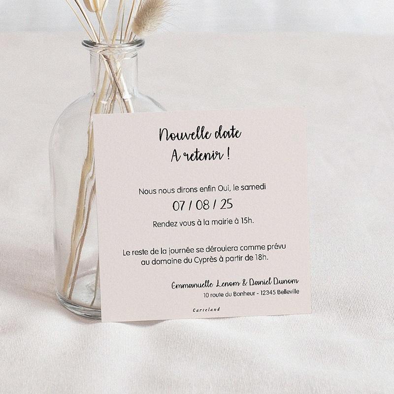 Change The Date Mariage Nouvelle Date, beige poudré, 10 x 10