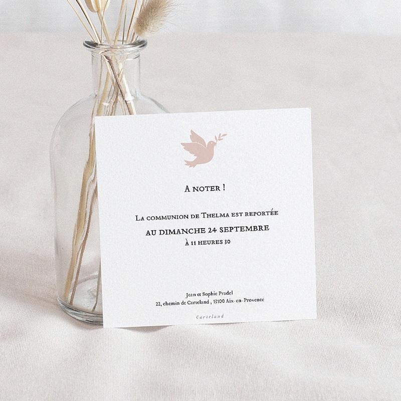 Carte Communion Reportée Holy Spirit Rose, nouvelle date, 10 x 10