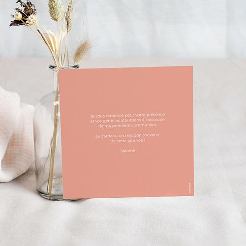 Carte Remerciement Communion Colombe, Fond Rose, 1 Photo pas cher