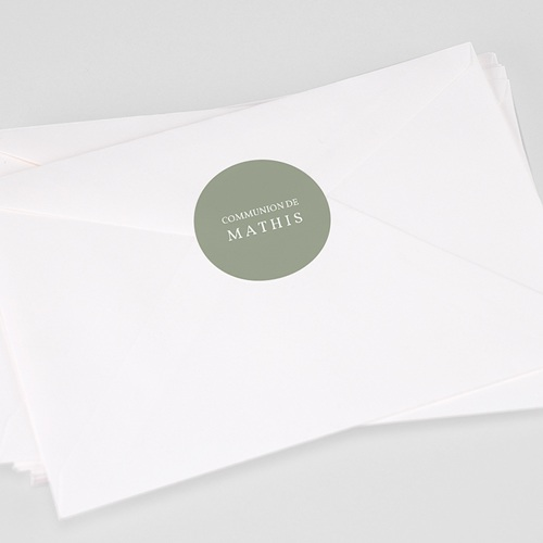 Etiquette Autocollante Communion Vert olive, 4,5 cm