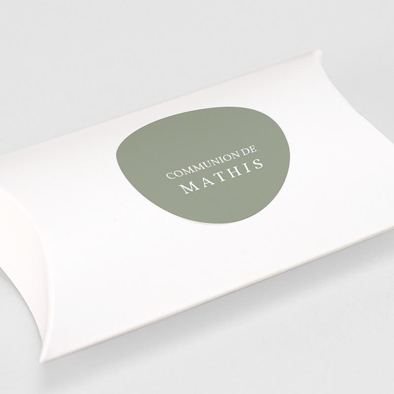 Etiquette Autocollante Communion Vert olive, 4,5 cm gratuit
