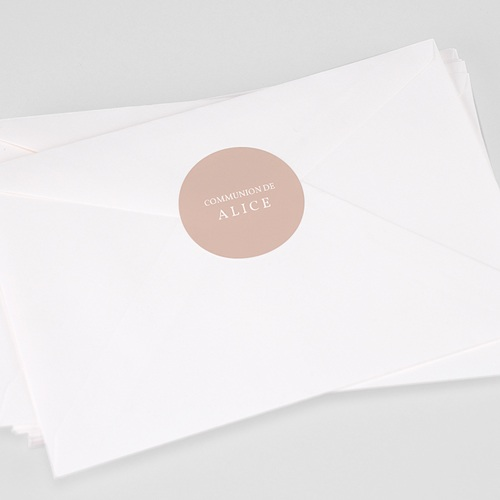 Etiquette Autocollante Communion Rose Poudré, 4,5 cm