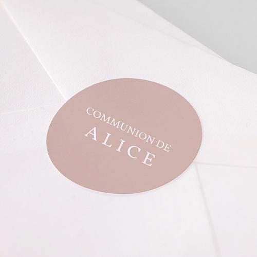 Etiquette Autocollante Communion Rose Poudré, 4,5 cm pas cher