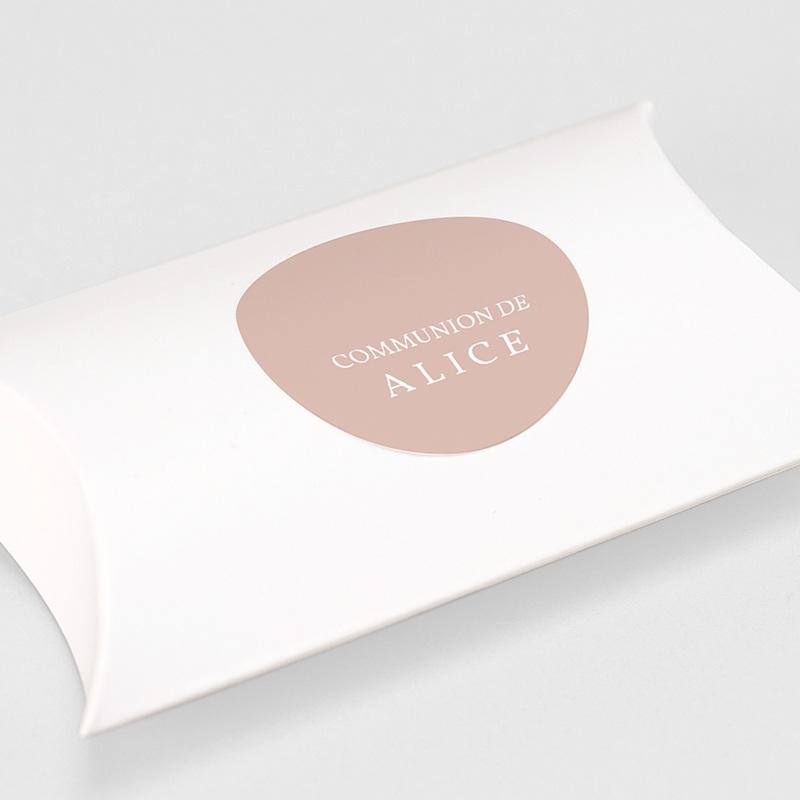 Etiquette Autocollante Communion Rose Poudré, 4,5 cm gratuit