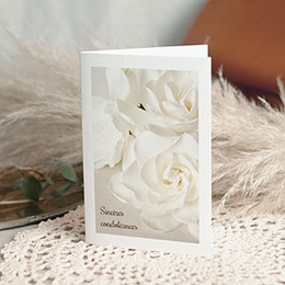 Carte Condoléances - Roses Blanches, 10,5 cm x 15 cm - 0