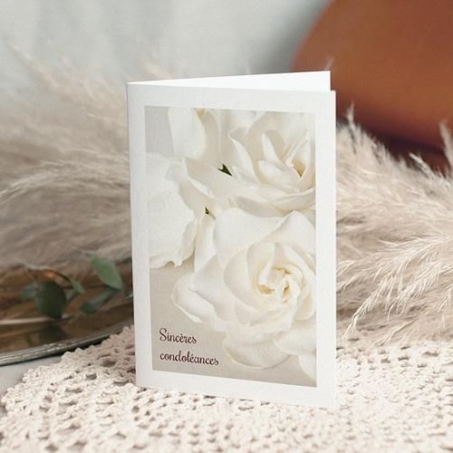 Carte Condoléances Roses Blanches, 10,5 cm x 15 cm