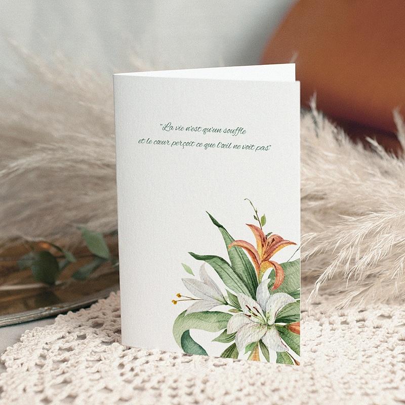 Carte Condoléances Lys en Bouquet, 10,5 cm x 15 cm