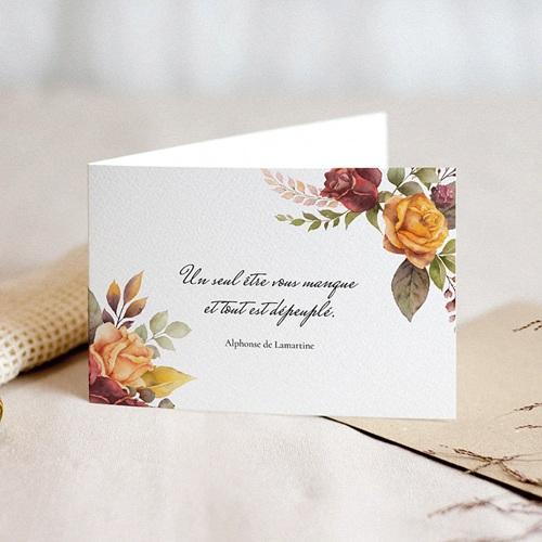 Carte Condoléances Fleurs de Toussaint,  15 cm x 10 cm