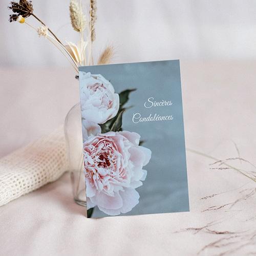 Carte Condoléances Pivoines du Coeur, 10 cm x 14 cm