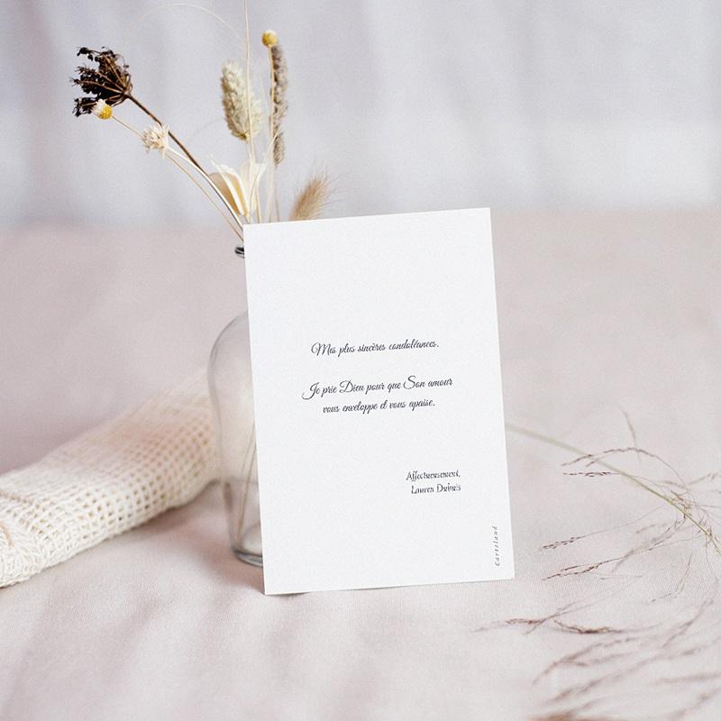 Carte Condoléances Pivoines du Coeur, 10 cm x 14 cm pas cher