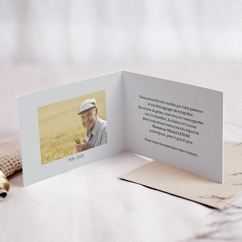 Carte Remerciement Décès Universel Paysage endeuillé - blé pas cher