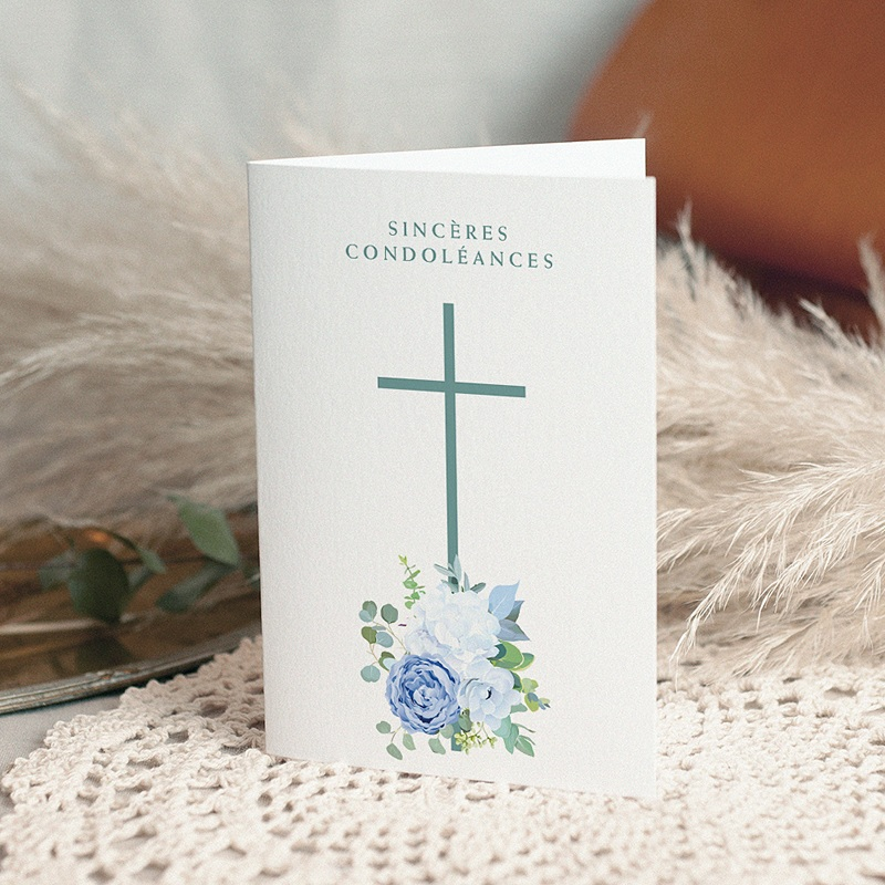 Carte Condoléances Croix et Hortensias, condoléances