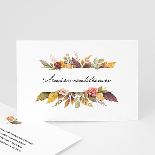 Carte Condoléances Fleurs d'Automne, Sincères condoléances
