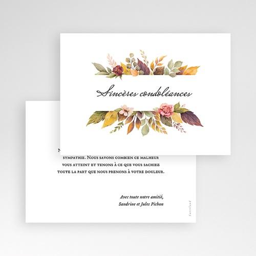 Carte Condoléances Fleurs d'Automne, Sincères condoléances pas cher