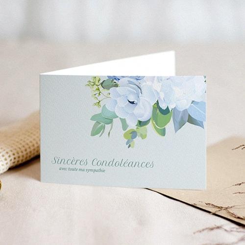 Carte Condoléances Fleurs Bleues, Sincères Condoléances, 10,5 x 15