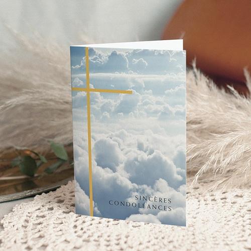 Carte Condoléances Croix dorée, Sincères Condoléances, 10,5 x 15 cm