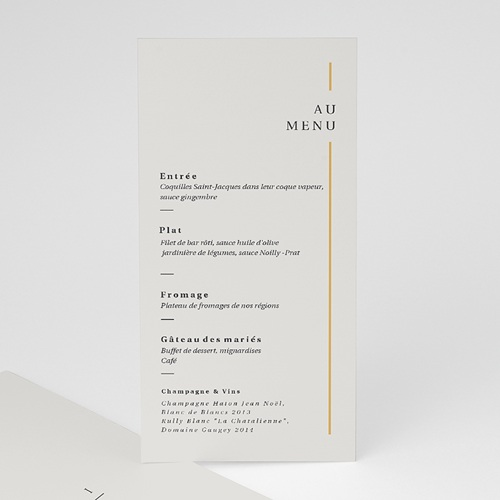 Menu Mariage Cadre Or, Lunch, 10 x 21