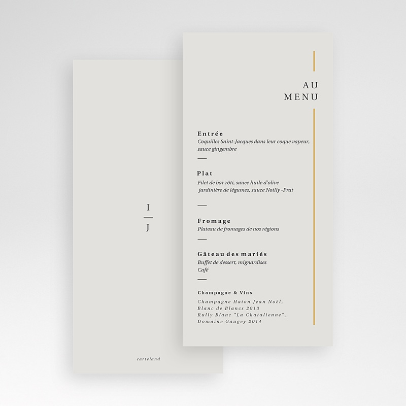 Menu Mariage Cadre Or, Lunch, 10 x 21 pas cher