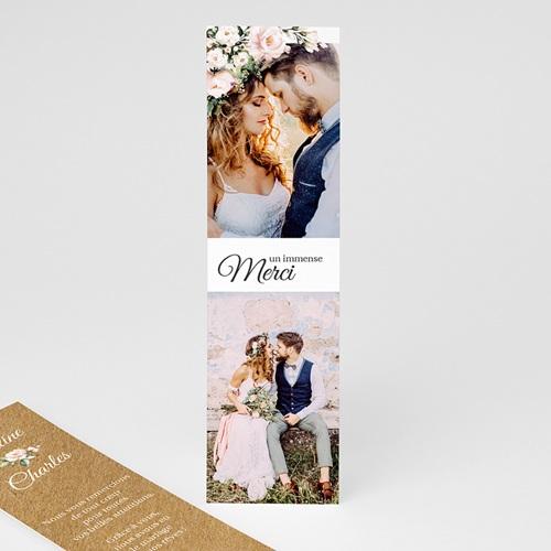 Carte Remerciement Mariage Champêtre Romantique Kraft, 2 photos