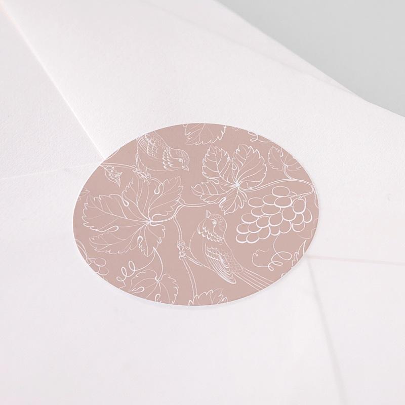 Etiquette Autocollante Communion Oiseau rose, vigne, 4,5 cm pas cher