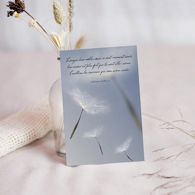 Carte Condoléances Fleurs du Ciel, 10 cm x 14 cm
