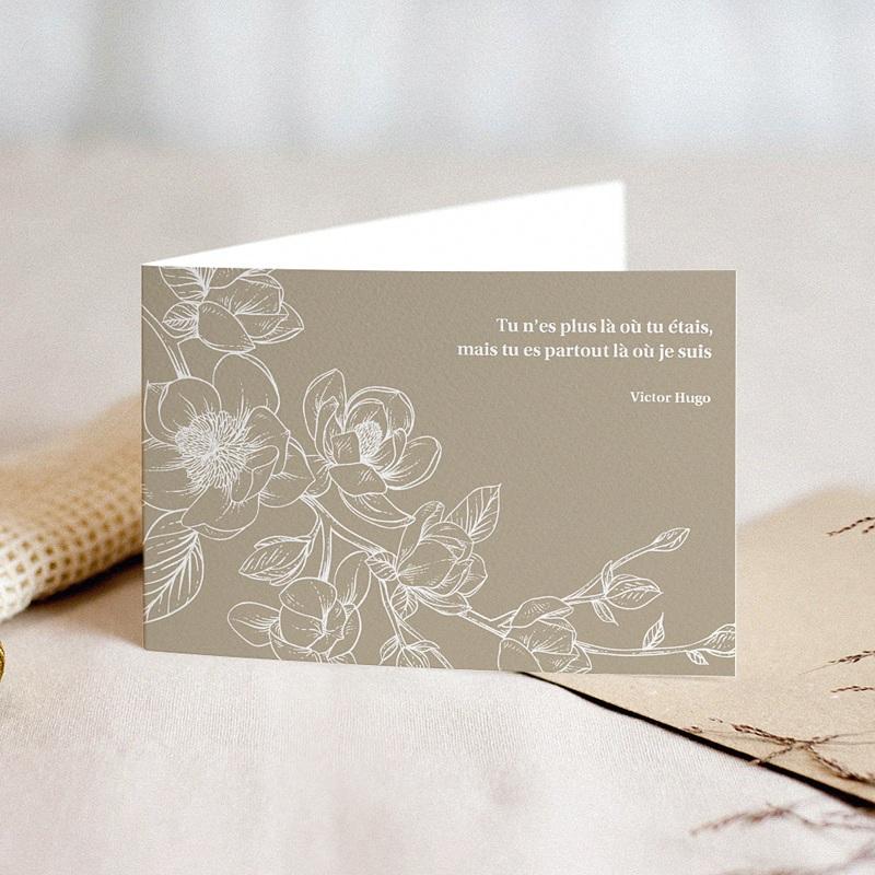 Faire-Part Décès Avis deces, Magnolia Beige
