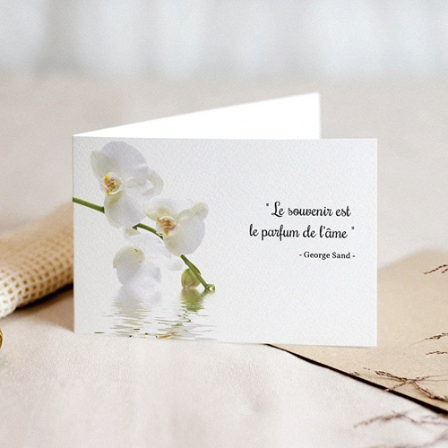 Carte Condoléances Orchidées Blanches, 15 cm x 10 cm