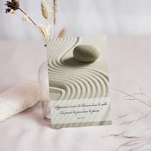 Carte Condoléances Paix intérieure, Sable et galet, 10 x 14 cm