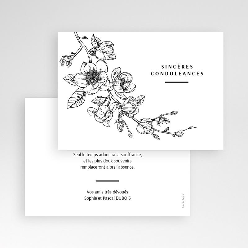 Carte Condoleances Magnolia En Deuil 14 Cm X 10 Cm Satisfait Ou Reimprime Carteland