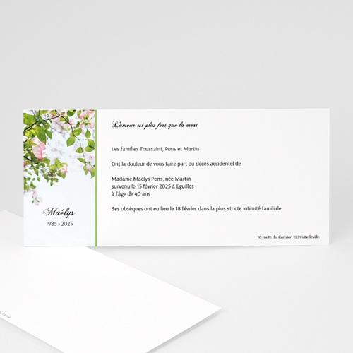 Faire-Part Décès Avis deces, Fleurs de Cerisier