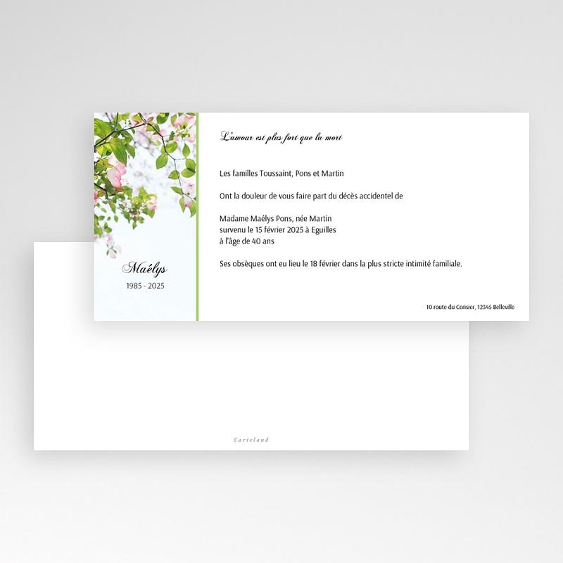 Faire-Part Décès Avis deces, Fleurs de Cerisier pas cher