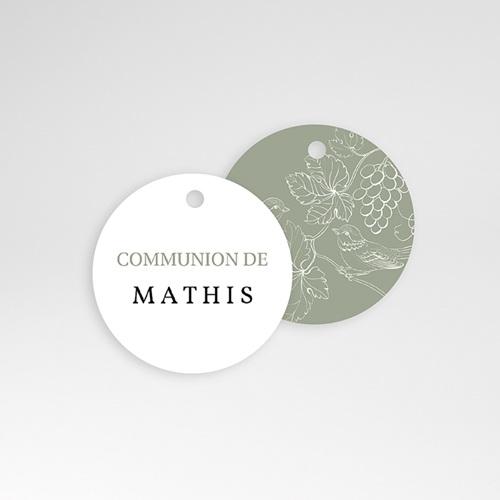 Étiquette Communion Oiseaux, Vigne Verte, 4,5 cm pas cher