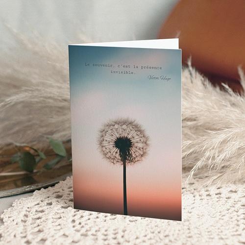 Carte Condoléances Souffle éternel, 10,5 cm x 15 cm