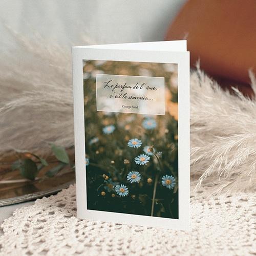 Carte Condoléances Marguerites Bleues, 10,5 x 15 cm