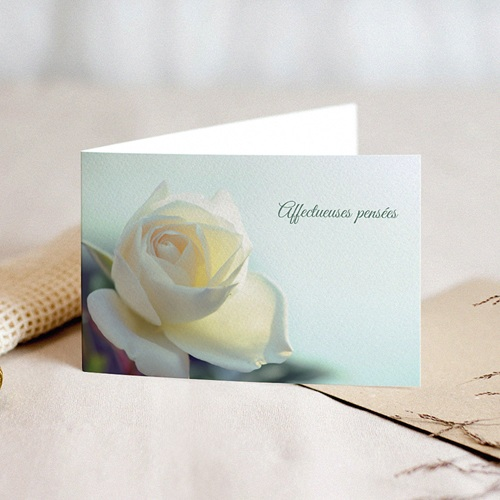 Carte Condoléances Rose Jaune, Affection,15 cm x 10 cm
