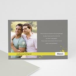 Carte remerciement pacs Design Gris et Bandeau Jaune