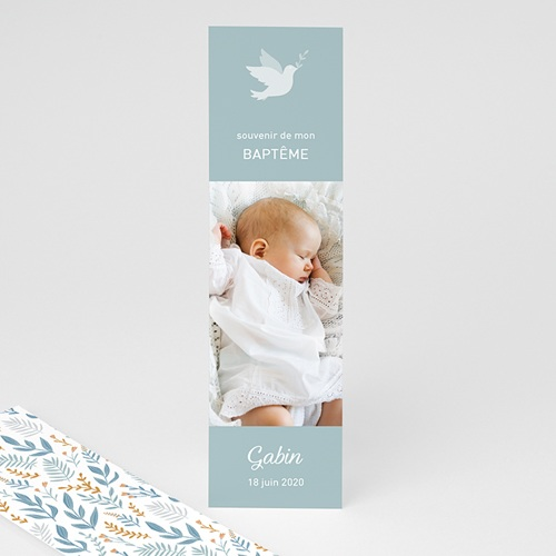 Marque Page Baptême Colombe, bandeau floral, bleu