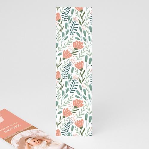 Marque Page Baptême Colombe, bandeau floral, 5,5 x 21 pas cher