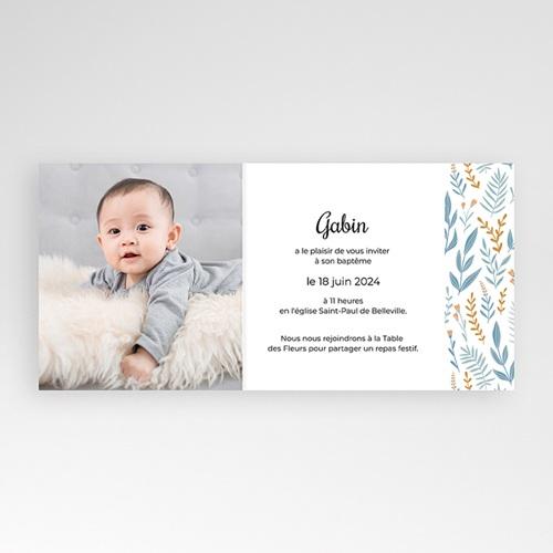 Faire-Part Baptême Civil Colombe, bandeau floral, bleu pas cher