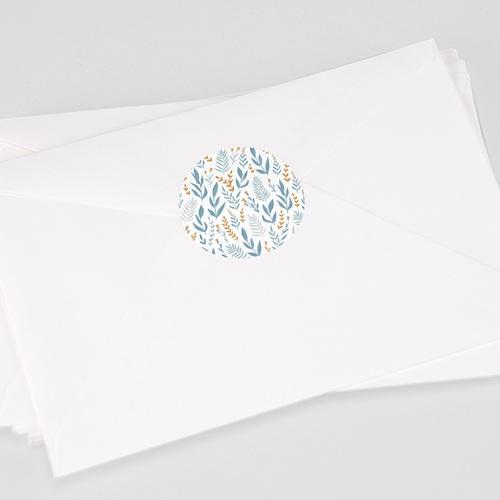 Etiquette Autocollante Communion Motif Floral bleu, 4,5 cm