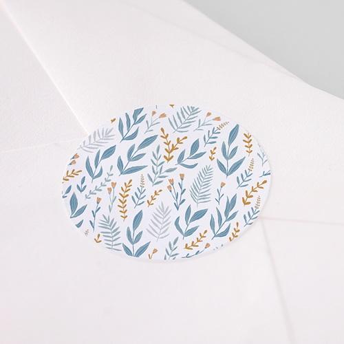 Etiquette Autocollante Communion Motif Floral bleu, 4,5 cm pas cher