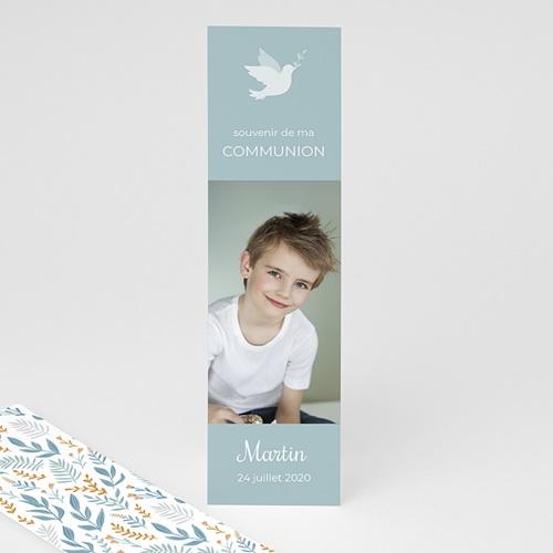 Marque Page Communion Colombe et fleurs bleues, 5,5 x 21