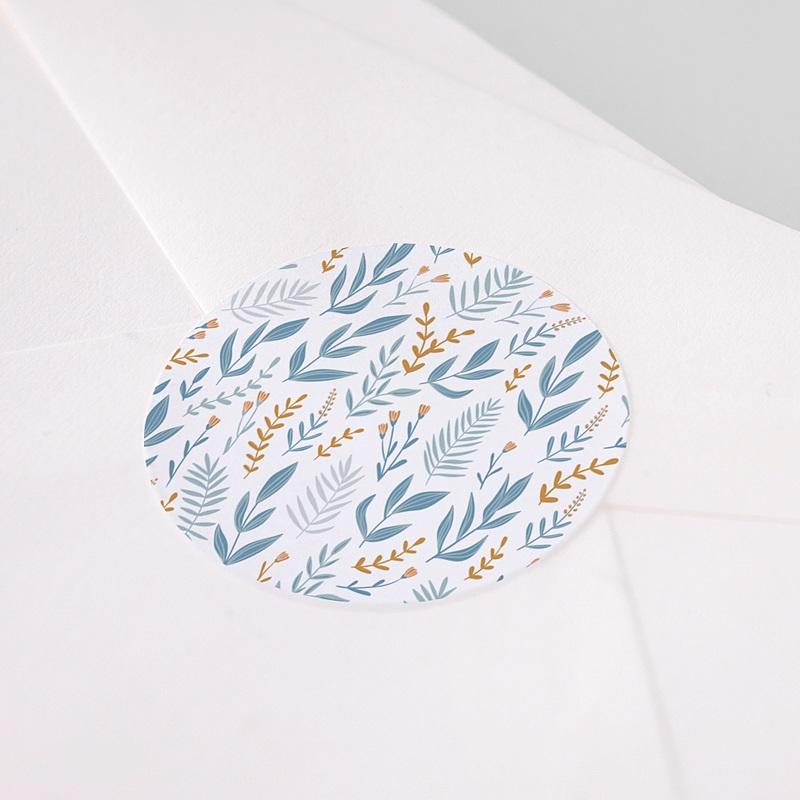 Etiquette Autocollante Baptême Fond Fleuri bleu, 4, 5 cm pas cher