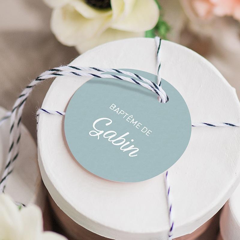 Étiquette Baptême Bleu et floral, 4,5 cm gratuit