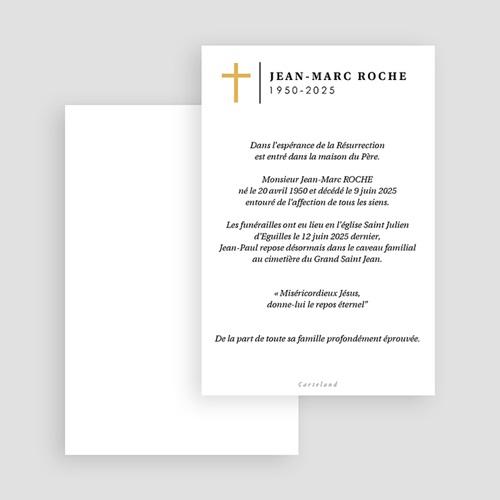 Faire-Part Décès Croix dorée, Portrait, 10 x 15 gratuit