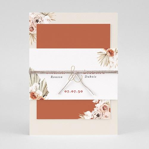 Faire-Part Mariage Chic Fleurs séchées, Doré, 3 cartes pas cher