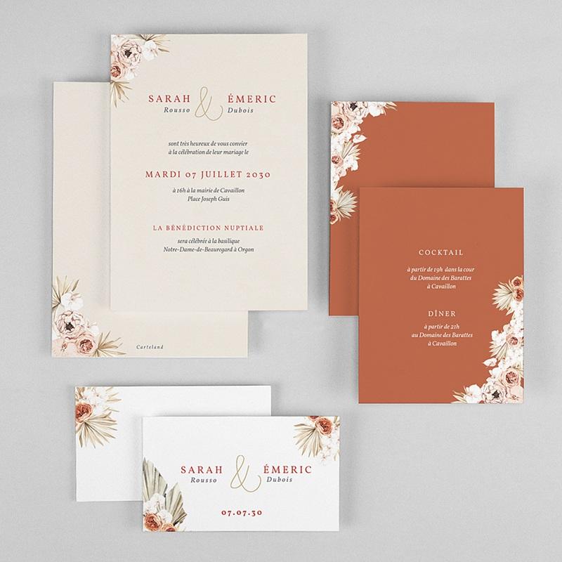 Faire-Part Mariage Chic Fleurs séchées, Doré, 3 cartes gratuit