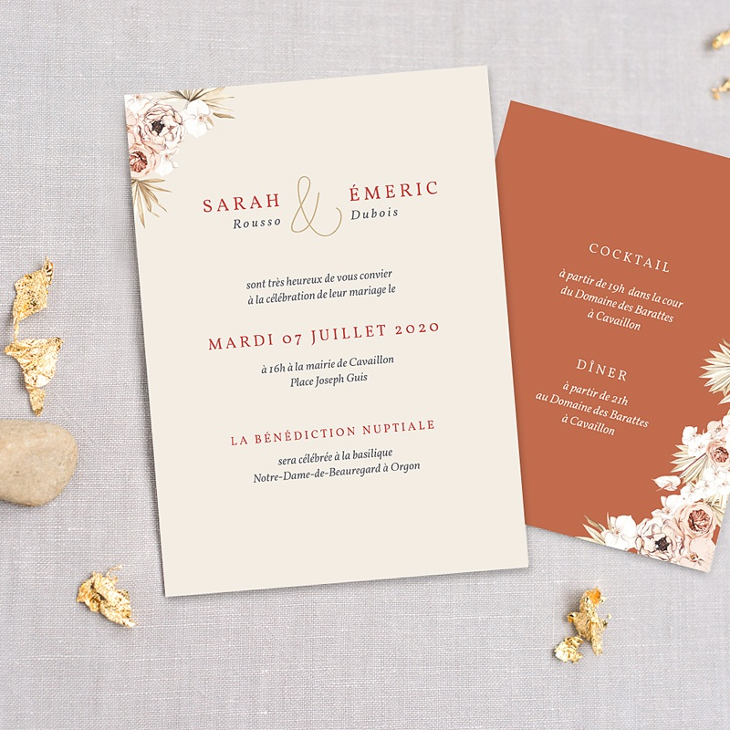 Faire-Part Mariage Chic Fleurs séchées, Doré, 3 cartes